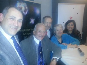 (l-r) Rory Fitzpatrick, CEO National Space Centre (Ireland) Ltd; Astronaut Buzz Aldrin; Sean Kelly, MEP; Jill Tarter, SETI Institute, California; and Jennie Yeung, China Childrens Health Rights Advocate;  at the EU Science Global Collaboration Week in the EU Parliament