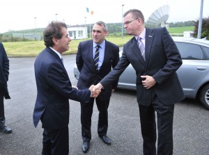 Justice Minister Alan Shatter welcomed by Bruce Hannah, CTO and Rory Fitzpatrick, CEO